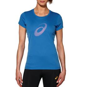 asics Graphic Hardloopshirt korte mouwen Dames blauw